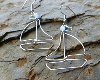 SAILING BOAT EARRINGS wire wrapped