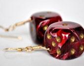 Dice Earrings -  Red Six Sided Dice - Geek Gamer Jewelry