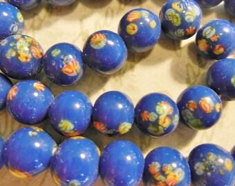 Vintage millefiori flower  beads Japanese glass lampwork bright blue handmade 8mm  (12)
