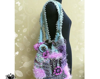SALE - 20% OFF - Sea Anemone Green and Pink Knitted Bag