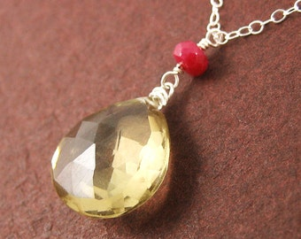 Sterling Silver Honey Gemstone Necklace SALE Sweet Lemon Quartz Red Ruby Anniversary Holiday Mothers Day Gift Under 50