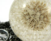 Dandelion Necklace, Large Resin Round with Full Dandelion and Oxidized Sterling Silver Chain