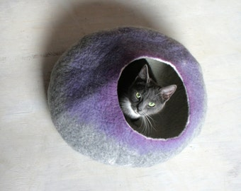 Cat Cave Bed House Vessel Bowl Bedding Furniture Cocoon - Hand Felted Wool Gray to Purple Bubble - Crisp Contemporary Modern Minimal Design