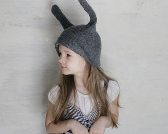 Gray Bunny Hat -- Hand Felted Wool -- Size Medium/Large