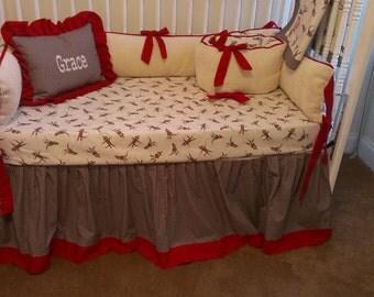 Sock Monkey Custom Made Crib Bedding With 10oz Chenille