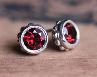 Garnet stud earrings, garnet studs, January birthstone earrings, red garnet earrings, bezel stud earrings, anniversary gift, ready to ship