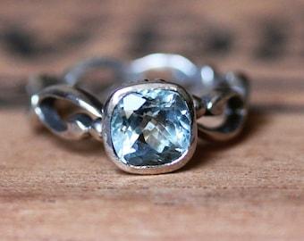 White gold Aquamarine engagement ring - bezel engagement ring - March birthstone - white gold infinity ring - ready to ship sz 7- Wrought