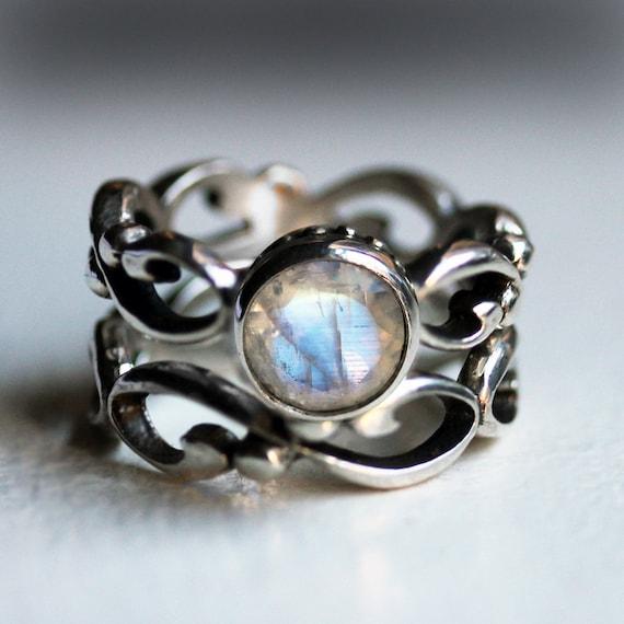 Moonstone Engagement Ring Set Rainbow Moonstone Engagement