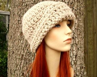 Crochet Hat Womens Hat 1920s Flapper Hat - Garbo Cloche Hat Linen Cream Crochet Hat - Cream Hat Cream Beanie Womens Accessories Winter Hat