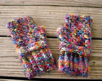 Crocheted Fingerless Gloves Mittens - Fingerless Gloves in Metropolis - Rainbow Gloves Blue Gloves Pink Gloves Womens Accessories