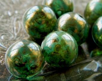 Jaded (10) -Czech Glass Druks 10mm