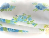 Vintage Sheet Fabric -  Fat Quarter - Cottage Blue Roses with Yellow and Green