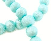 Pale Blue Textured Glass Pearl  Beads 6mm 65ct