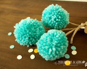 Yarn Pom Pom Flowers / Billy Bobs / Craspedia Floral Arrangement for Home or Wedding - Set of 3 Small in Aruba Sea