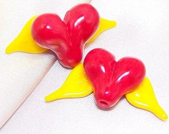 Handmade Lampwork Glass Bead Winged Hearts by Cara