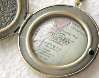 Sydney, Australia Map Locket Necklace also featuring Wallalong