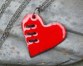 Valentine Jewelry Mended Broken Enamel Heart Pendant Necklace Copper Enameled Sewn Red Black