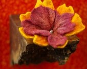Orange Ruby Felt Lily Brooch