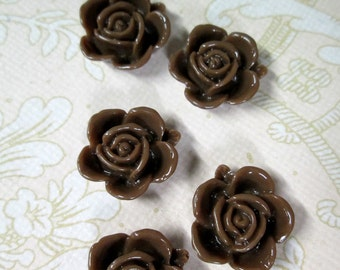 10 15mm brown rose cabochons