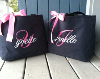 Personalized Monogrammed Totes Emily Font names and initials embroidered bride bridesmaid bridal party