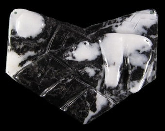 Zebra Jasper Carved Polar Bear Focal Pendant Bead- 82x64x8 mm