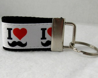 Mustache Mini Key Fob - Black Key Chain - Mustache Zipper Pull - I Love Mustaches