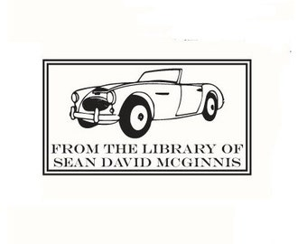 convertible car from the library of custom Rubber Stamp Bookplate ex libris