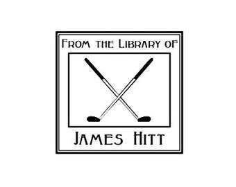 Golfer Ex Libris custom rubber stamp golf club bookplate golfing
