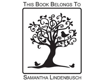whimsical birds in tree this book belongs to custom Rubber Stamp ex libris Bookplate