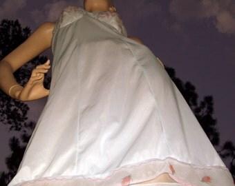 Blue Rose Slip Vintage Summer Slip Sundress Kayser Tailored sz 34 Adult XS S M Lingerie