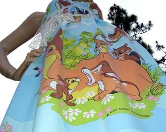 Bambi Sundress Disney Vintage Fabric Dress Woodland Thumper Flower Adult M XL XXL Hippie Sundress