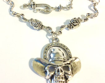 Cowboy Skull and Roses Necklace         Disability Friendly Closure