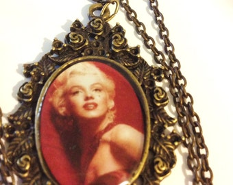 Marilyn Monroe Necklace In Brass  Movie  Actress Norma Jean  Iconic Star Hollywood Paparazzi Idol Pin Up