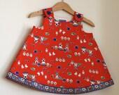 Red Dress with Windmills & Milkmaids | Newborn, Baby, Toddler, Pre-School, Kindergarten Girls Dress | Sizes Newborn to Girls 6 -