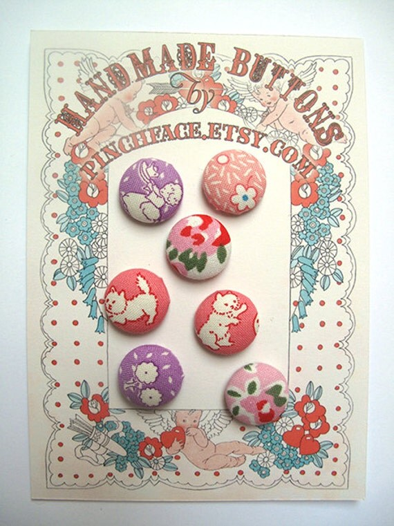 Handmade fabric covered button set for sewing supplies.