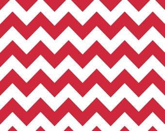 Riley Blake Designs, Medium Chevron Red Fabric - Half Yard