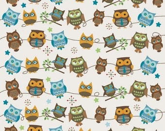 Doohikey Designs, Hooty Hoot Returns, Hooty Roll Call Cream Fabric - REMNANT Size 34 Inches by 42 Inches