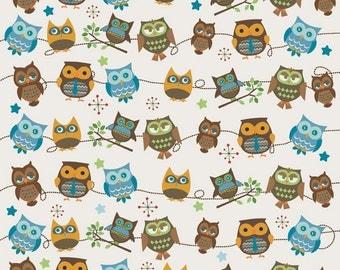 Doohikey Designs, Hooty Hoot Returns, Hooty Roll Call Cream Fabric - Half Yard