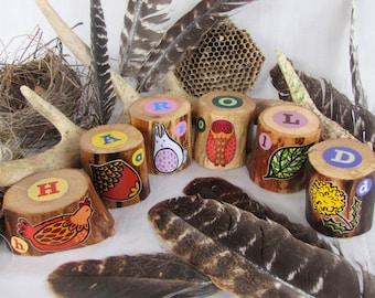 SIX Woodland Name Blocks - Personalized Set of Alphabet blocks - OOAK