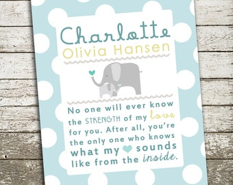 Custom Baby Girl Nursery Wall Art - No One Will Ever Know the Strength of My Love for You - 8x10 Gift Print