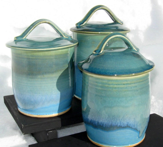three canister set in shades of turquoise