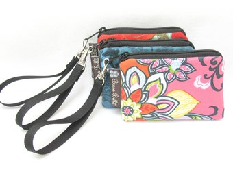 Pixy Roo Small Wristlet - coin purse - credit card purse - Zippered Pouch - CUSTOM Fabric - You Pick the Fabric