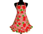 Flower Apron , Red Geraniums , Adjustable with Retro Ruffle and Pocket - ElsiesFlat