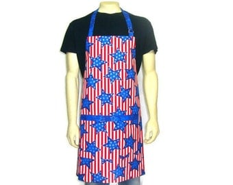 American Flag Apron for Men ,  Blue stars on Red and White Stripes , Patriotic Kitchen decor