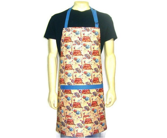 Fly Fishing Apron,  Mens Full Chef Length, Brown with Blue Trim , Cabin Kitchen Decor