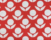 Kokka Japanese Fabric Stamped Ellen Luckett Baker - Circle Flowers - red and white