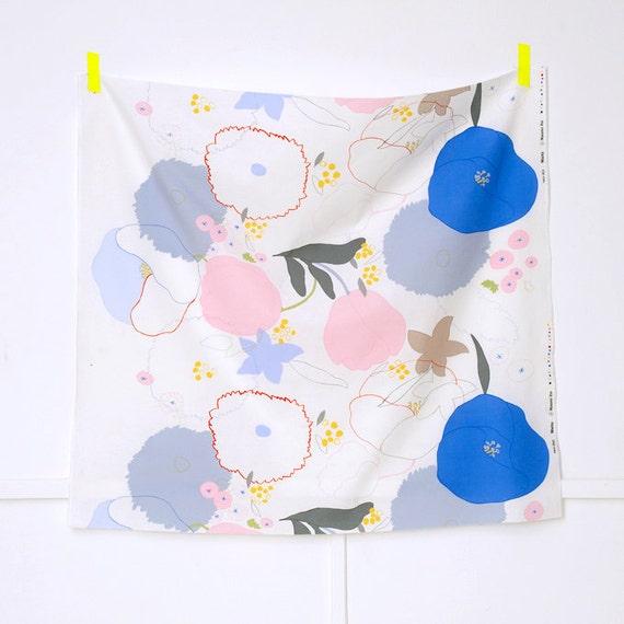 REMNANT - Nani Iro Waltz Japanese Fabric - white canvas
