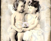 Original Digital Collage Card/Vintage Children/Angel/Cherub/Blank/love you always/old photo card