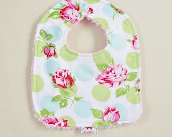Shabby Rose Dot Bib Infant Chenille Great Gift Matching Sugar Chic
