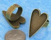 100pcs antique bronze Heart tray Adjustable pewter Ring Blank -Saint Valentine Day